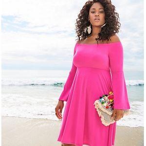 Torrid 3x Hot Pink Cold Shoulder Dress -Worn Once